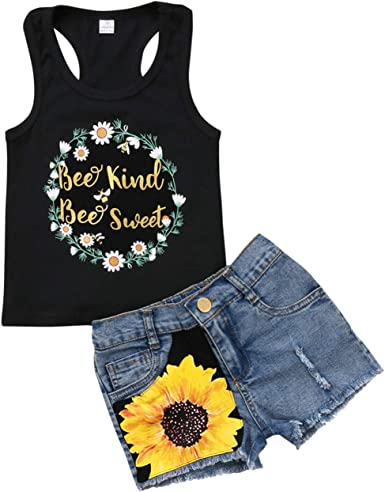 Kids Baby Girls Summer Outfit Clothes Vest T-shirt Tops Dress+Shorts Sunsuit New