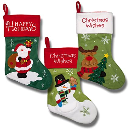 2b2a22b38 Christmas Stockings for Women Men Adults Kids Girls Boys Cute Embroidered  Stockings for Hanging Featuring Santa