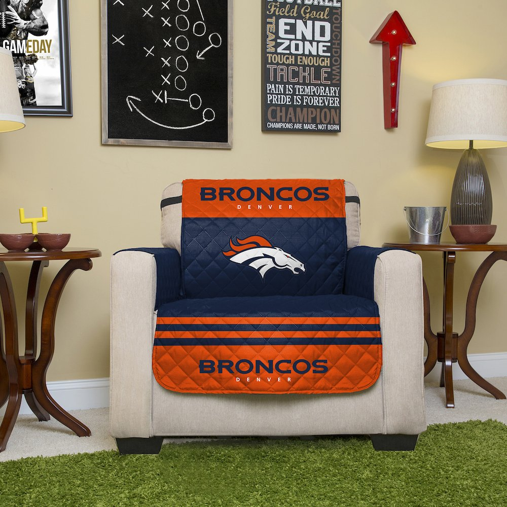 Amazon NFL Denver Broncos Chair Reversible Furniture Protector With Elastic Straps 75 Inches By 65 Home Kitchen