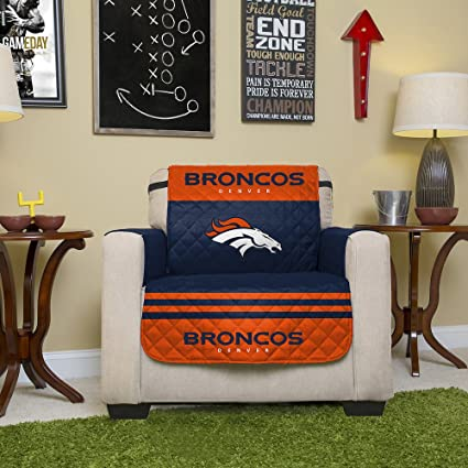 Pegasus Home Fashions NFL Denver Broncos Chair Reversible Furniture  Protector With Elastic Straps, 75