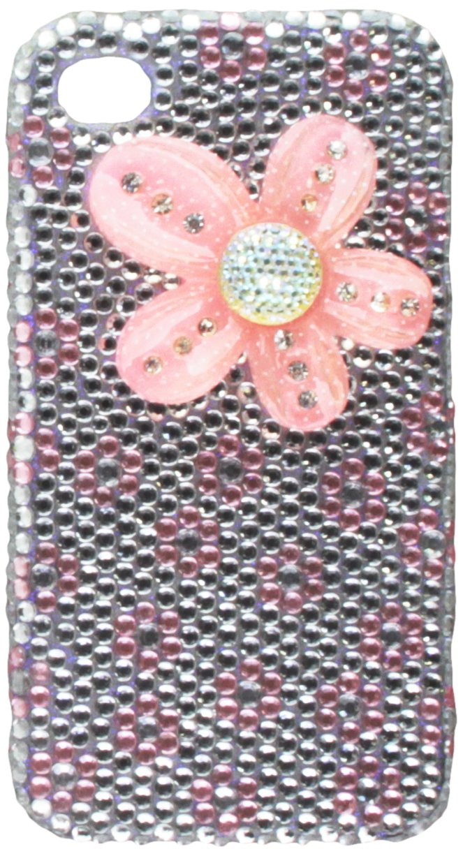Dream Wireless Full Diamond Case for iPhone 4/4S - Retail Packaging - Silver/Pink Flower IP:FDIP4SLHPFL