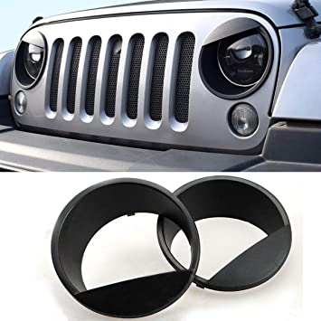 IParts Angry Eyes Black Bezels Front Light Headlight Trim Cover ABS For Jeep  Wrangler Accessories Rubicon