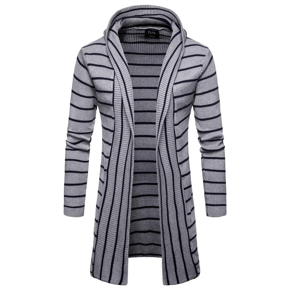 SPORTTIN Men's Casual Long Cardigan Sweater Stripe Print Hooded Shawl Collar Knit Coat(Gray,M