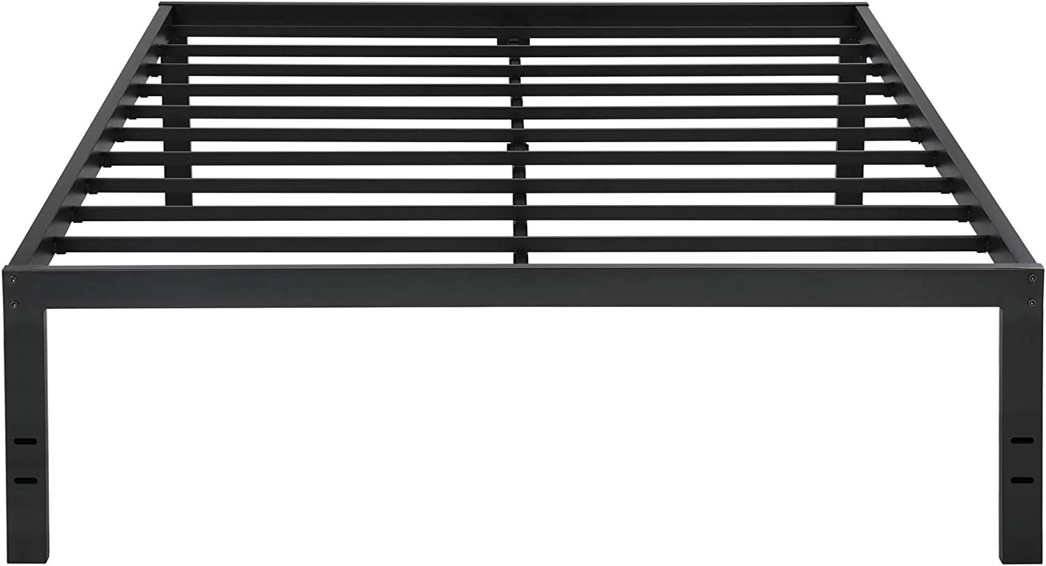 PrimaSleep 18 Inch Tall Metal Bed Frame Dura Steel Slat Anti-Slip Support No Box Spring Needed, Queen, Black