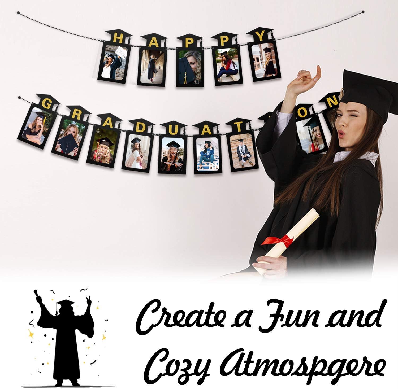 LINGPAR Happy Graduation Photo Banner 2020 Black Gold Perfect Congrats Grad Decor Party Supplies