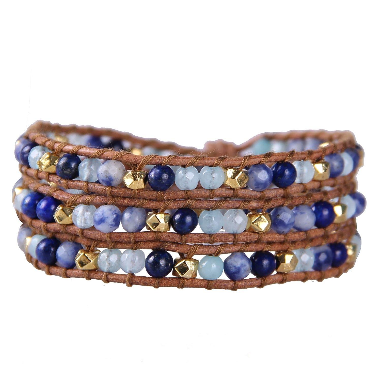 KELITCH Blue Created-Lapis-Lazuli Sodalite Stone 3 Wrap Bracelet on Brown Leather Kelitch Jewelry CAZ3W-15040