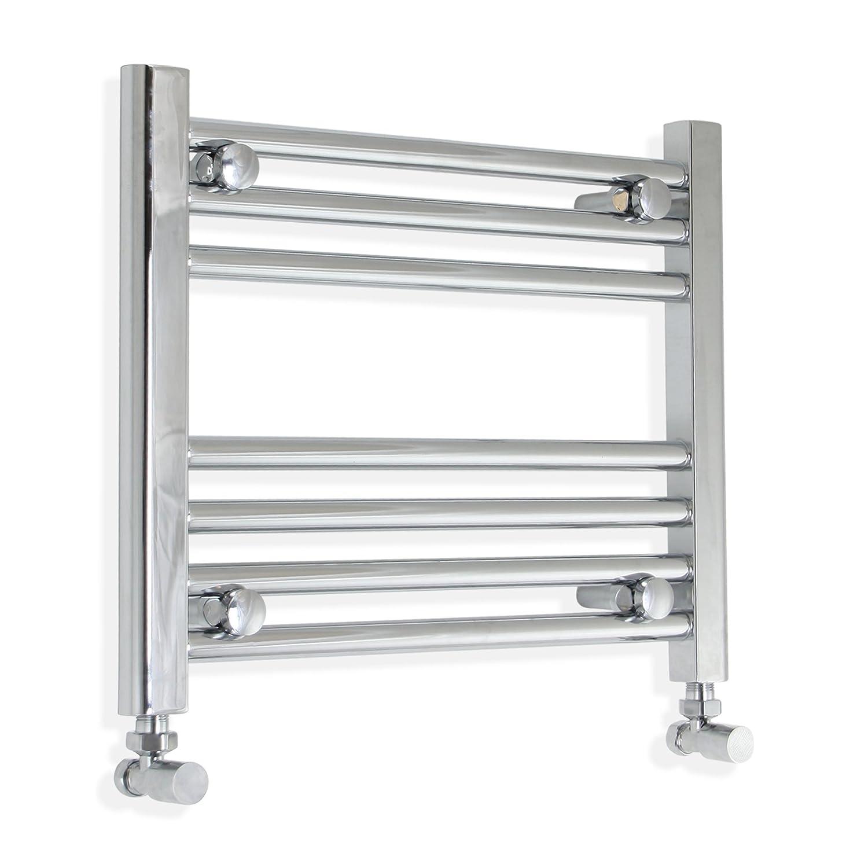 400mm wide x 400mm high Heated Towel Rail Straight Flat Chrome Bathroom Warmer Radiator Rack Central Heating
