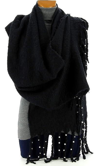 ec3fd9ebc6b Charleselie94® - Grosse écharpe femme hiver laine perles noir VIENNE NOIR   Amazon.fr  Vêtements et accessoires