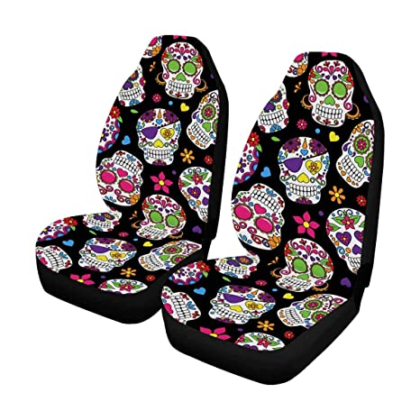 InterestPrint Auto Seat Protector 2 Pack Day Of The Dead Sugar Skull Car Covers