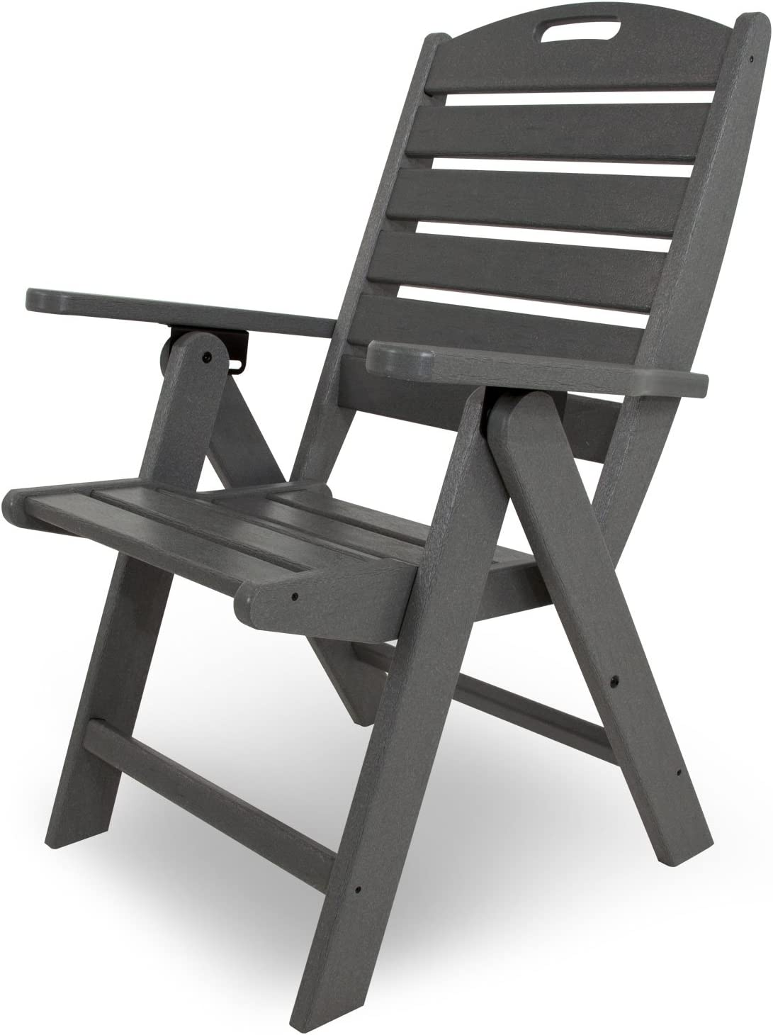 POLYWOOD NCH38GY Nautical Highback Chair, Slate Grey