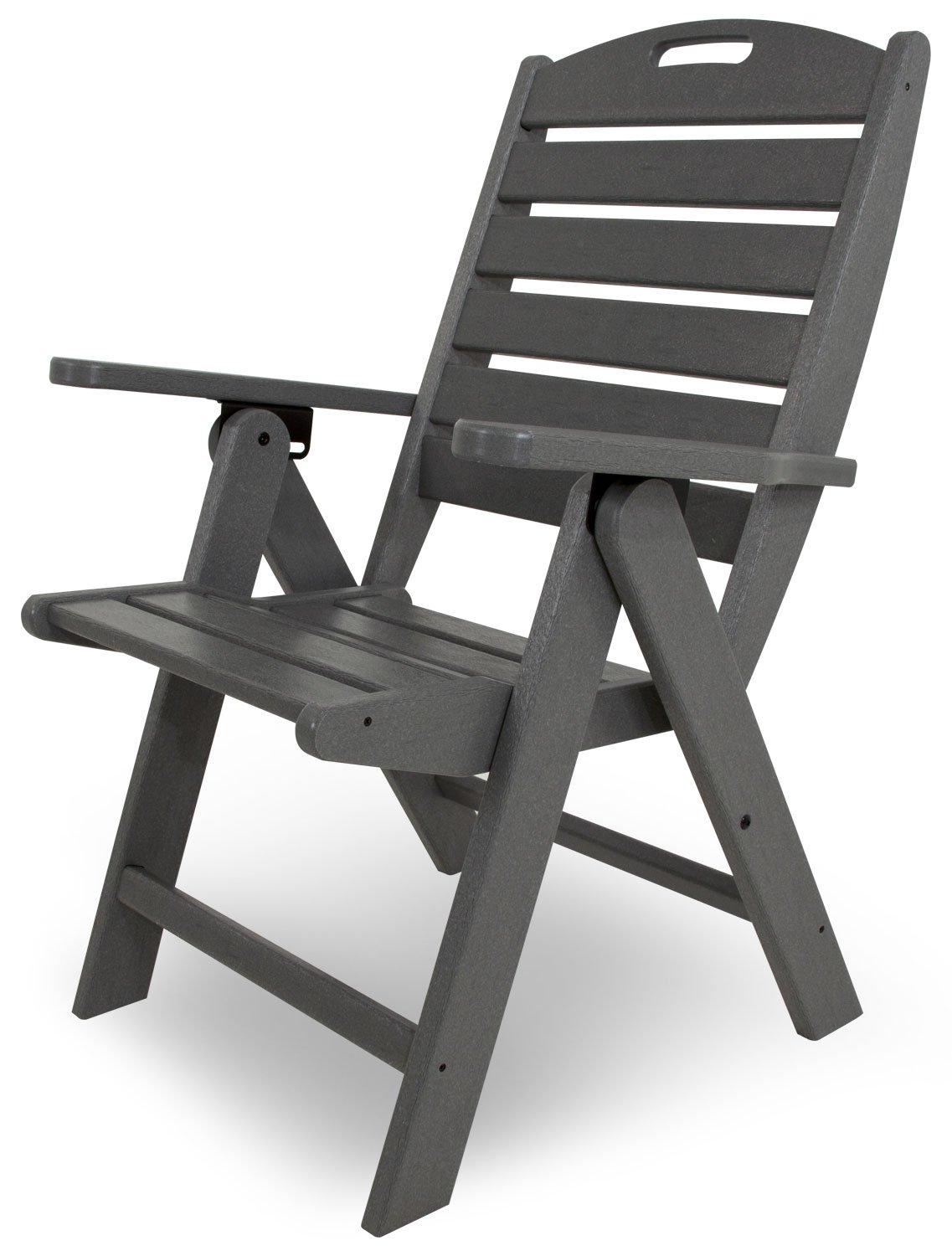 amazoncom polywood nch38gy nautical highback chair slate grey adirondack chairs garden u0026 outdoor