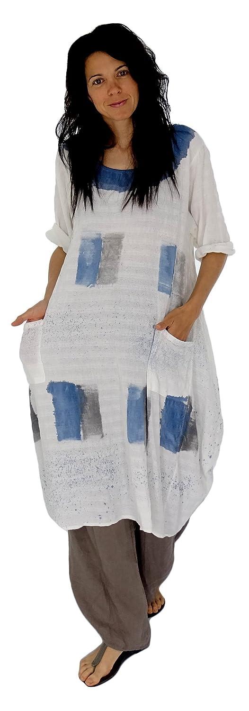 Mein Design Lagenlook de Mallorca Damen Kleid HK300 Tunika Baumwolle Ballonkleid Gr. 40, 42, 44 tragbar