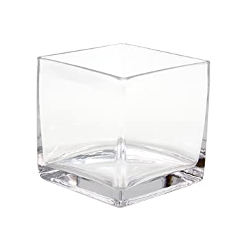 Koyal Wholesale 404343 12 Pack Cube Square Glass Vases, 4 By 4 By 4
