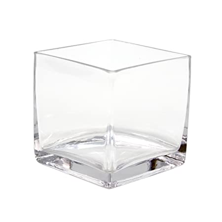 Koyal Wholesale 404343 12 Pack Cube Square Glass Vases 4 By 4 By 4