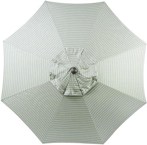 Bayside21 9 ft Patio Umbrella Replacement Market Table Outdoor Umbrella Canopy Sunbrella Fabric Umbrella Top Only 8 Ribs Spa Stripe