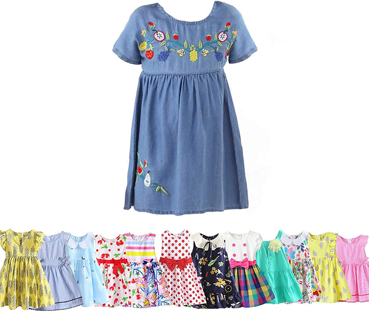 Abalacoco Girls Kids 100/% Cotton Soft Grid Summer Short Sleeve Sundress Casual Toddler Tutu Party Dress