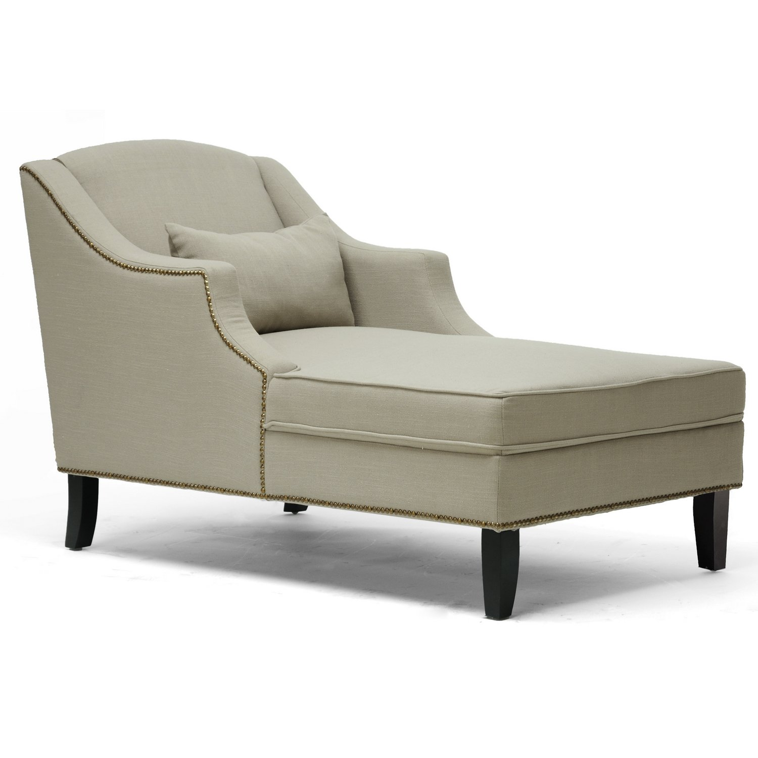 amazon com baxton studio asteria putty linen modern chaise lounge