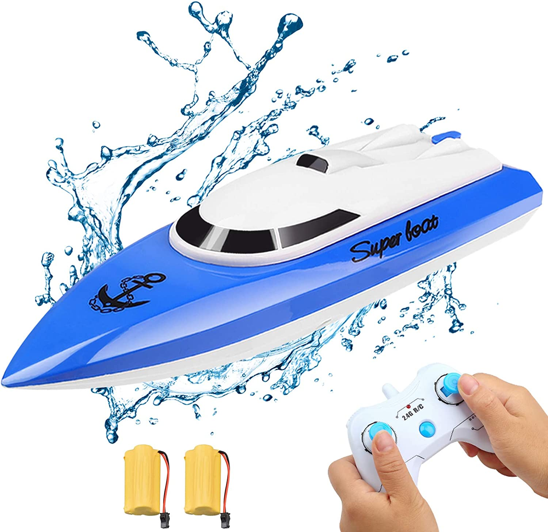 Kqpoinw Barco Teledirigido, Barco RC Niño Lancha Radiocontrol Electrico de 2.4 GHz Lancha RC para Niño Niña Juegos en Bascula Baño y Piscina (Azul)