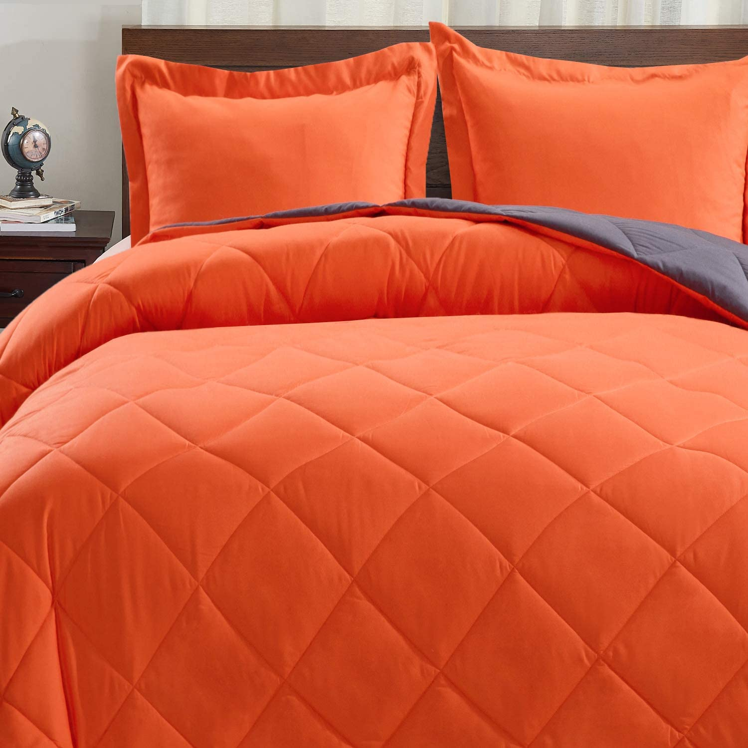 Basic Beyond Down Alternative Comforter Set (King, Flame/Charcoal Gray) - Reversible Bed Comforter with 2 Pillow Shams for All Seasons