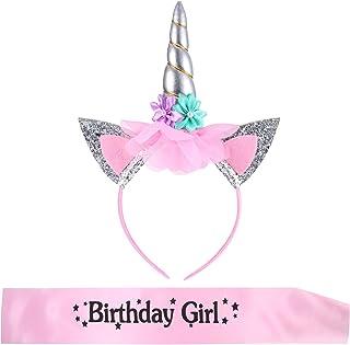 Cerchietti a Unicorno con Fascia di Compleanno Ragazza per Bambini Festa di Compleanno Forniture (Stile 8)