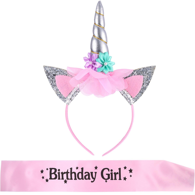 Cerchietti a Unicorno con Fascia di Compleanno Ragazza per Bambini Festa di Compleanno Forniture (Stile 2) Hestya