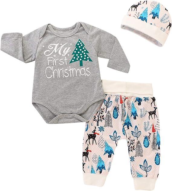 SUPEYA Baby Boys Girls Christmas Costume Long Sleeve Romper Pants Hat Outfits Set
