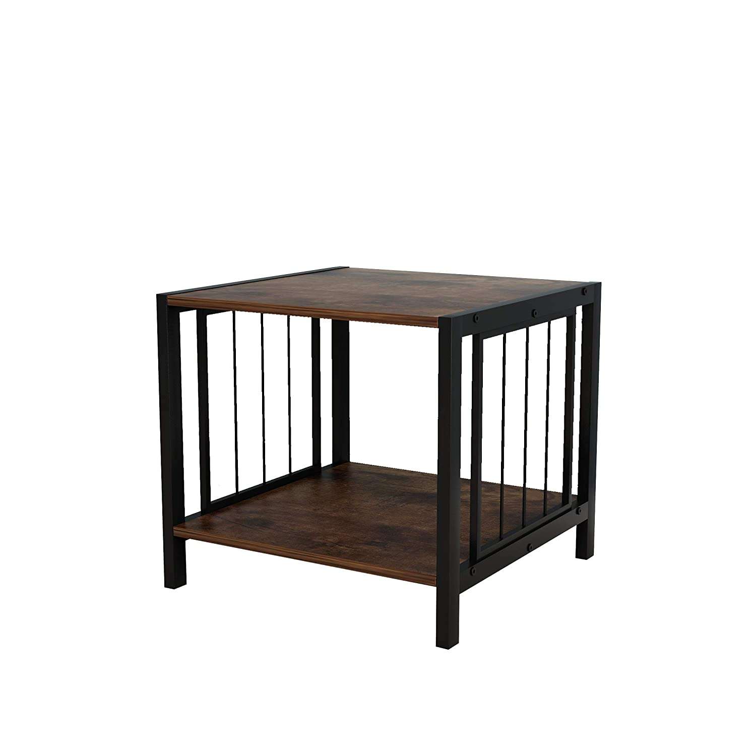 Vintage Brown Finish 2-Tier Side End Table