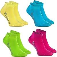 Rainbow Socks - Niños y Niñas - Calcetines Cortos de Algodón - 4 Pares - Amarillo Turquesa Verde Rosa - Talla 24-29