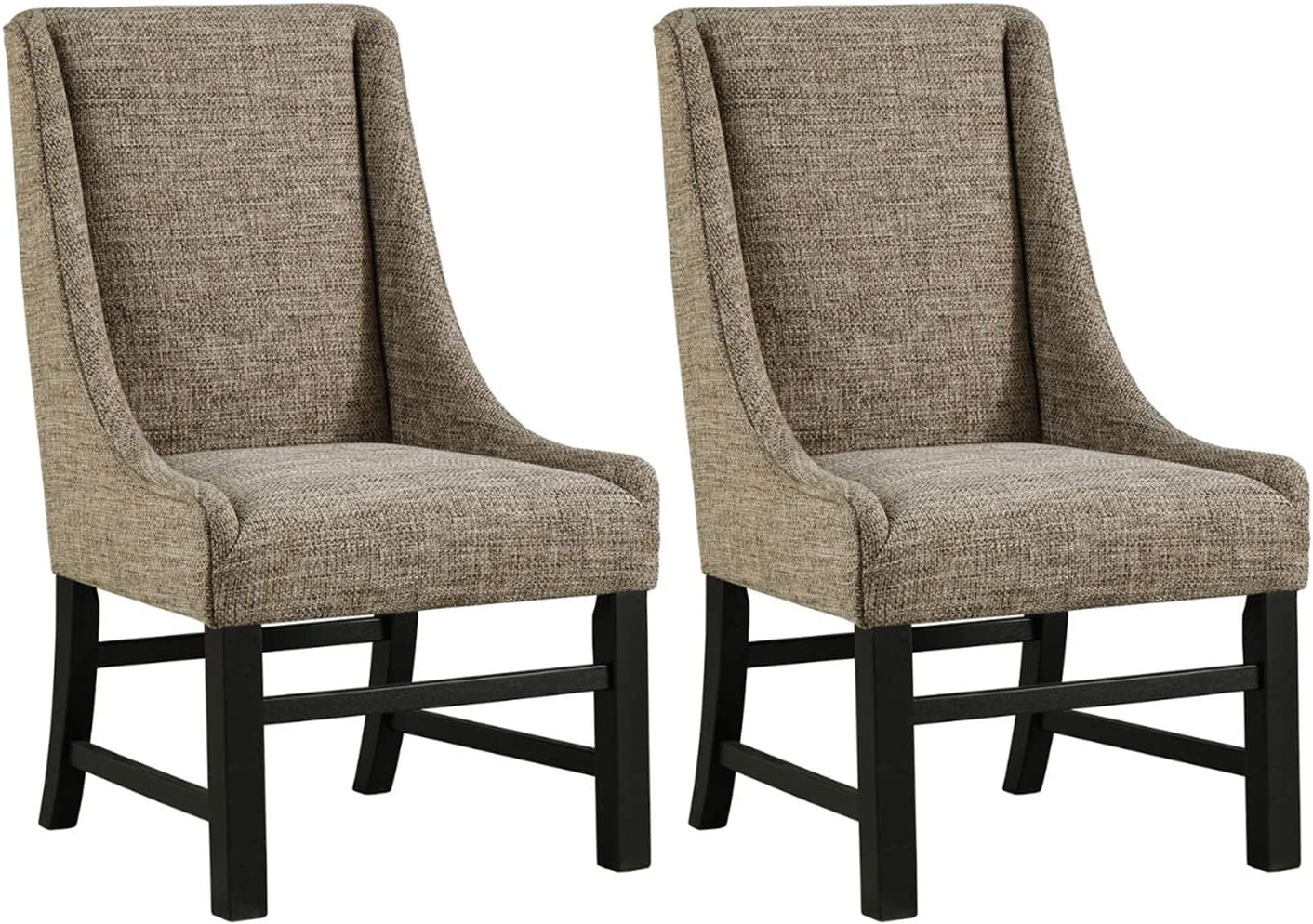 Ashley Furniture Signature Design – Sommerford Dining Arm Chair – Set of 2 – Casual – Brown Upholstery – Black Wood Frame