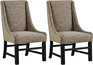 Ashley Furniture Signature Design - Sommerford Dining Arm Chair - Set of 2 - Casual - Brown Upholstery - Black Wood Frame