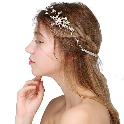 Hopefultech Strass perla capelli sposa bande pettine da sposa accessori per  capelli da sposa fascia fermacapelli 65bf51842f83