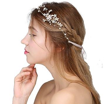 2c123b4357c714 Hopefultech Strass Perlen Braut Haar Kamm bänder Braut Kopf Band Hochzeit  Haarschmuck Haarspangen Strass Perlen Hochzeit