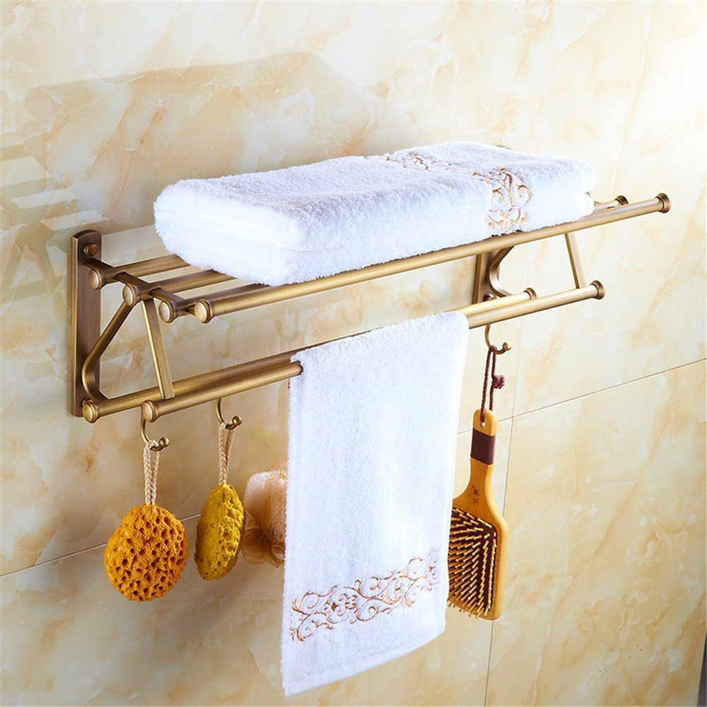 DIDIDD All Bronze Retro European Style Bathroom Towel Rack Bathroom Hardware Pendant Clothes Rack Coat Hook,B by DIDIDD