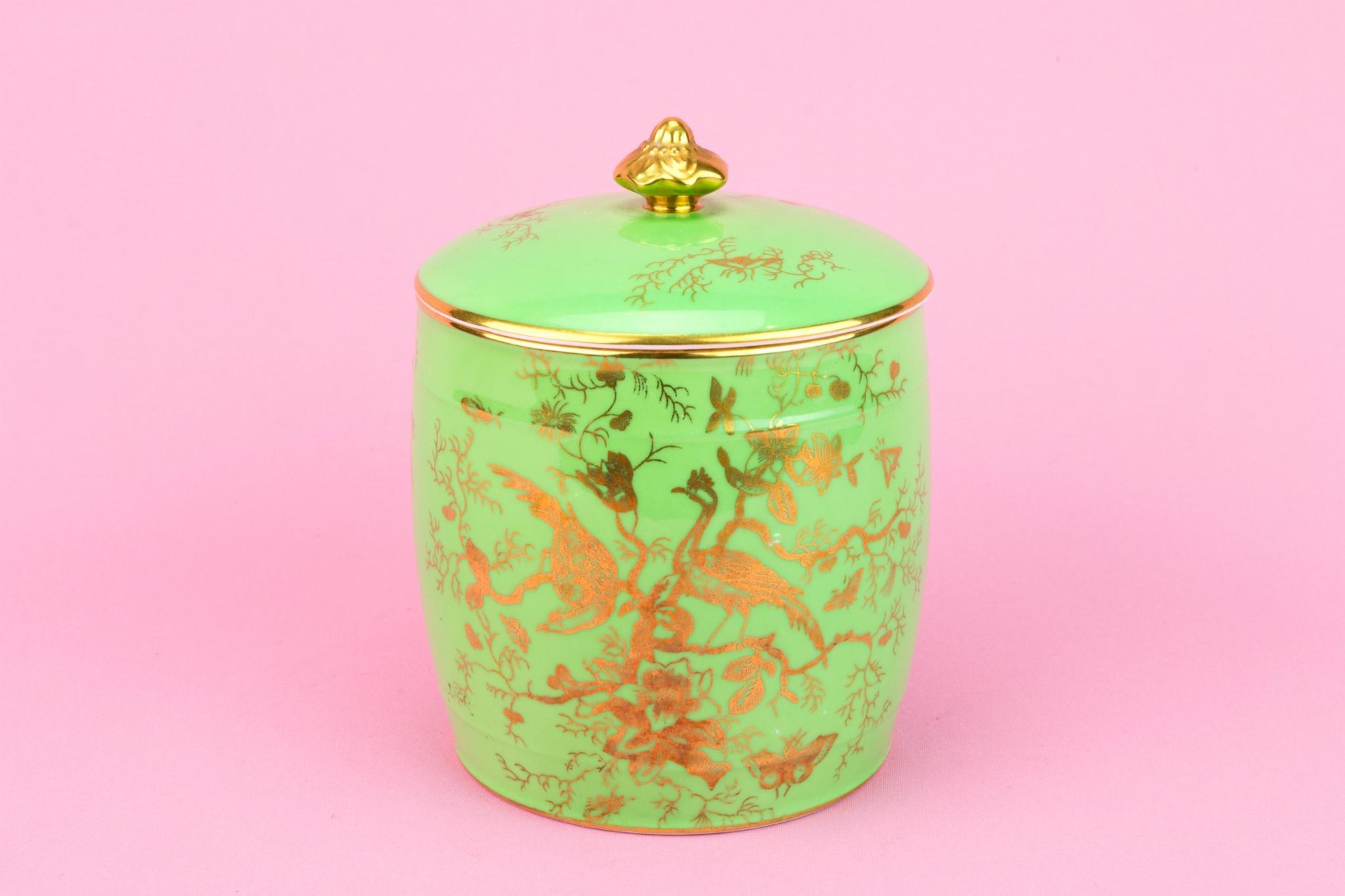 Green Coalport Bone China Kitchen Jar Lid Gilded Medium Barrel Shape Traditional English Mid 20th Century