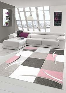 designer teppich moderner teppich wohnzimmer teppich kurzflor teppich mit konturenschnitt karo muster pastellfarben rosa creme beige - Wohnzimmer Beige Karo