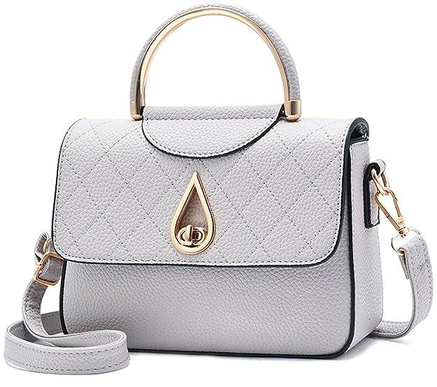 Covelin Women's Small Leather Handbag Tote Shoulder Crossbody Bag Light Grey