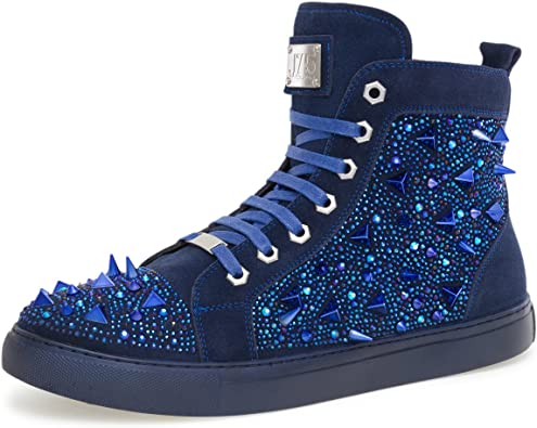 mens studded high top sneakers