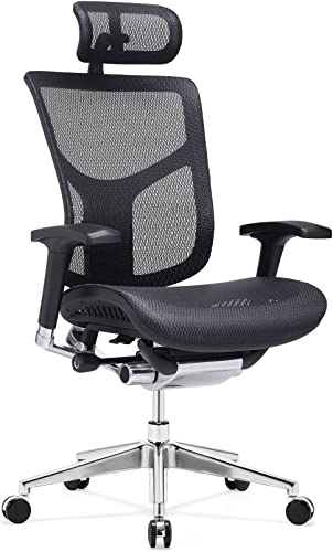 IDS Online Executive Racing Office Chair High-back Mesh Bucket Seat Sit-to-Move Wheel Casters, Black