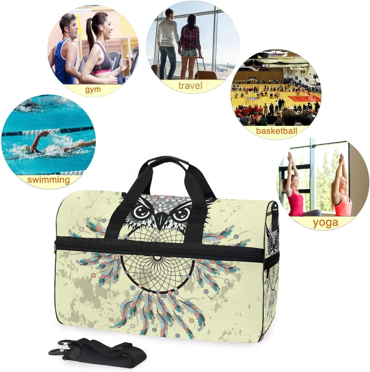 WIHVE Gym Bag with Shoes Compartment Dream Catcher Owl Arrow Travel Duffel Bag