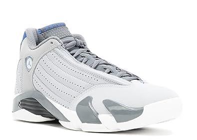 500dceecf18de4 uk air jordan 14 retro mens shoes wolf grey sport blue clay grey white  75ba9 3ac24