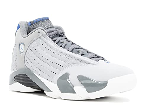 lowest price c97db 4f8bf Jordan Air 14 Retro Men's Shoes Wolf Grey/Sport Blue-Clay Grey-White  487471-004 (10 D(M) US)