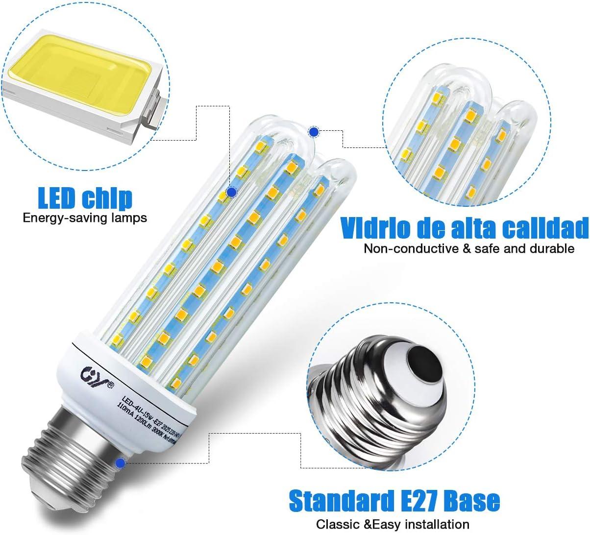 6 unidades equivalente a bombilla incandescente de 150 W GY Bombilla de LED 4U 15W ma/íz E27 de 15 W 3000 K blanco c/álido 1200 lm bombilla LED para candelabro bombilla LED de tornillo Edison