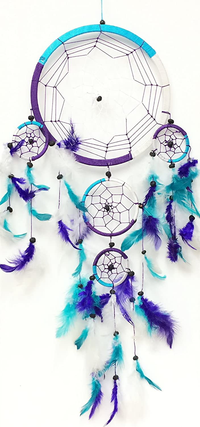 Blue, White, and Purple Feathers Dream Catcher