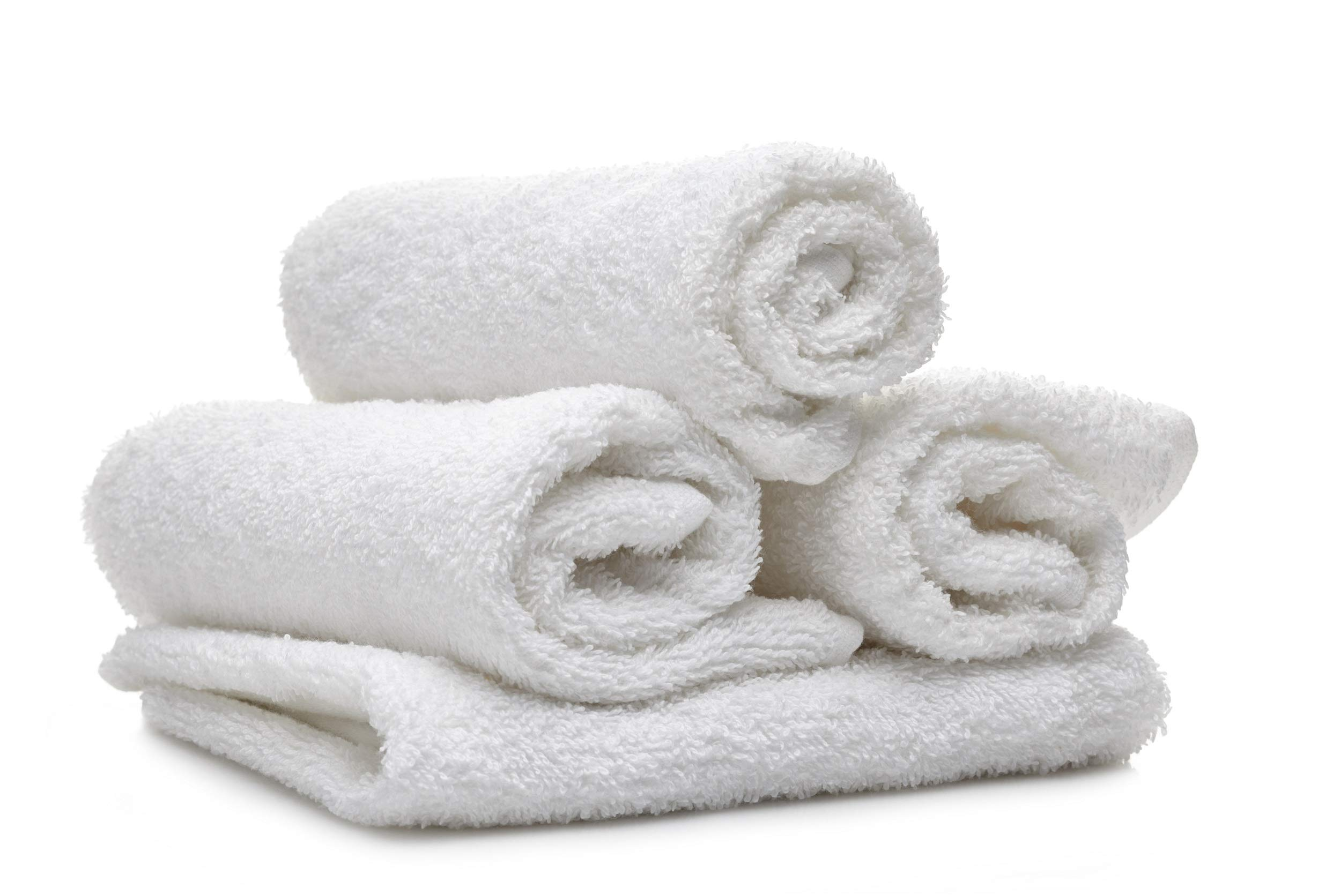 Cotton Salon Towels (Pack of 12) - 100% Soft Ring Spun Cotton - 16X27 Inches White - Face Gym Hand Towel by Atlas