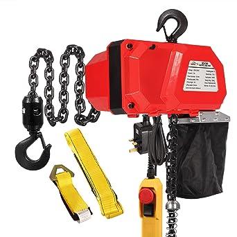 Argano elettrico a motore con paranco a catena con catena in acciaio 3 m Altezza di sollevamento con telecomando a cavo 150 kg Capacit/à di sollevamento 230 V