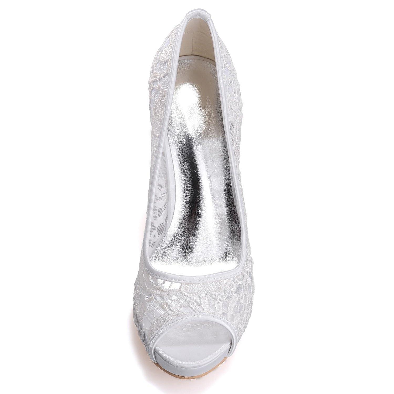 Elobaby Hochzeit Frauen Hochzeit Elobaby Schuhe 35-42 Größe Spitze High Heels Schuhe Weiß Elfenbein Braut Plattform 11 cm Heel / S6041 Ivory fc9590