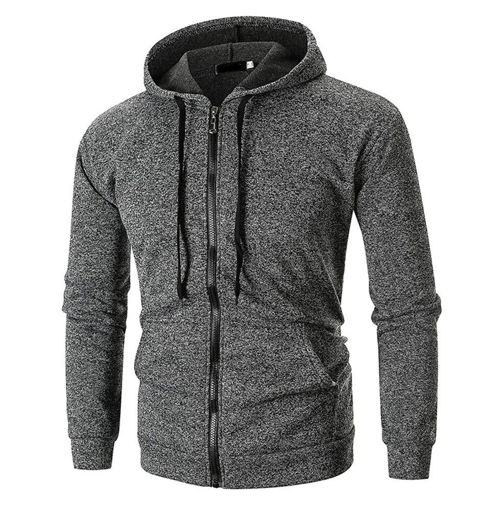 Fotoostore Men's Solid Long Sleeve Zip Hoodie Casual Hooded Sweatshirt Outwear Jacket Coat Tops (Medium, Dark Gray)