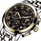 Watches Mens Luxury Steel Band Quartz Analog Wrist Watch with Chronograph Waterproof Date Men's Watch