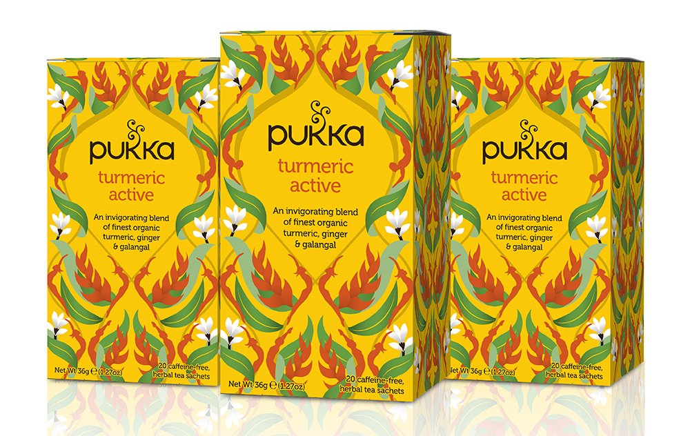 Pukka Herbs Turmeric Active, Organic Herbal Tea With Ginger & Galangal (3 Pack, 60 Tea Bags)