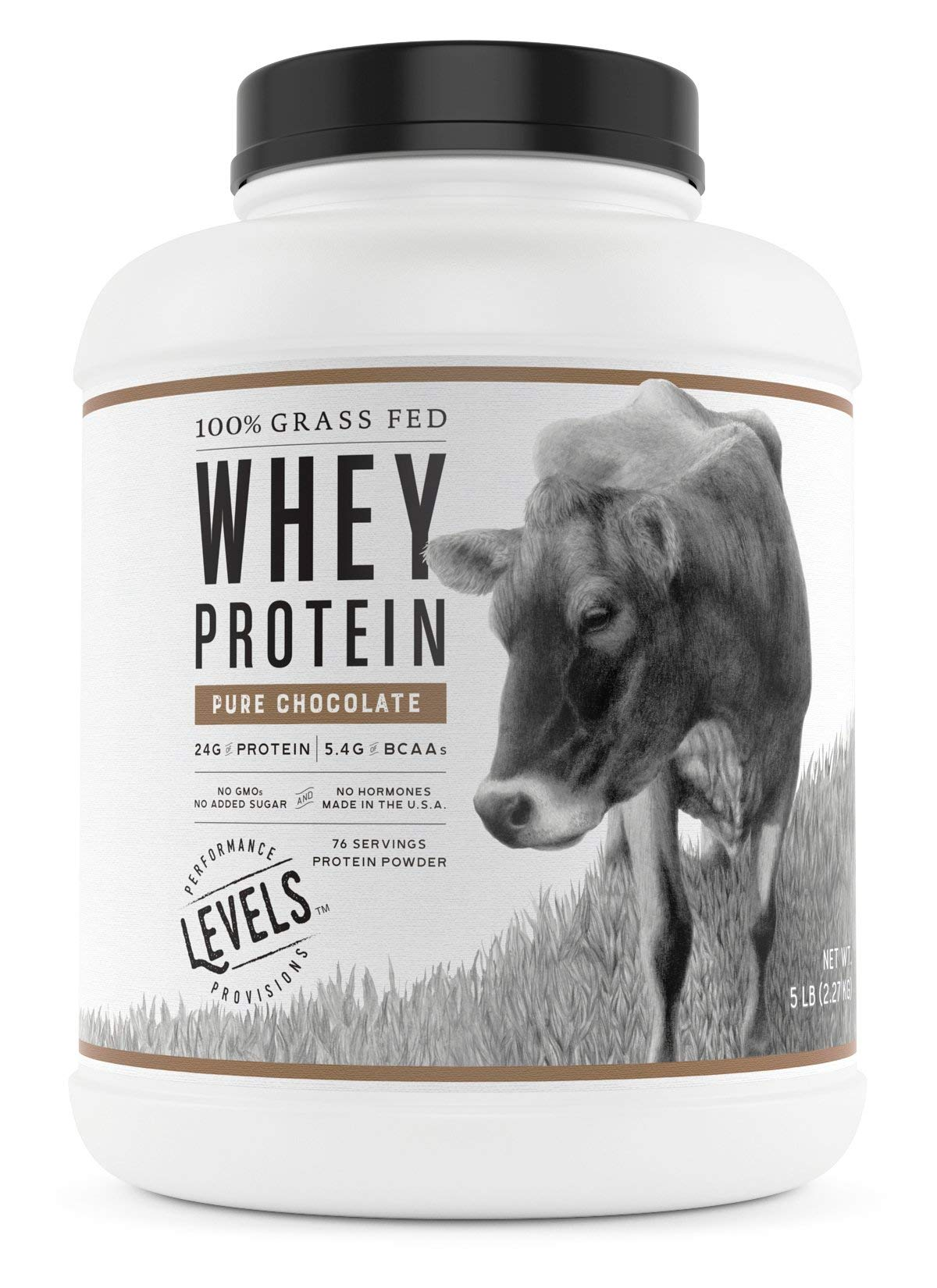 Levels 100% Grass Fed Whey Protein, No GMOs, Pure Chocolate, 5LB by Levels Nutrition